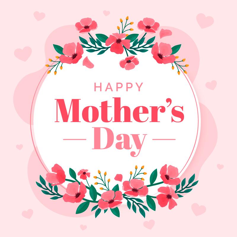 水彩花卉设计母亲节快乐矢量素材(AI/EPS)