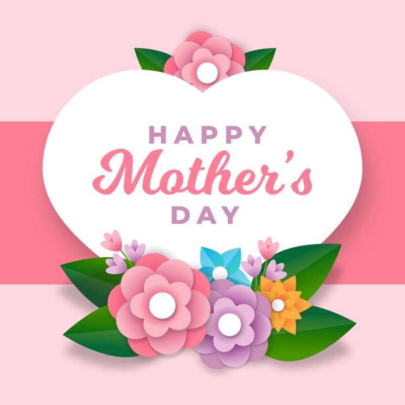花卉和爱心设计母亲节快乐矢量素材(AI/EPS)