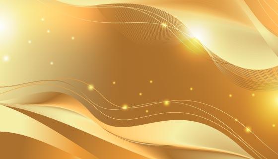 闪亮光滑的金色波浪背景矢量素材(AI/EPS)