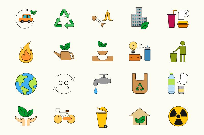 20个手绘风格的环境图标矢量素材(EPS/免扣PNG)