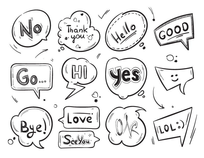 12个手绘漫画风格的气泡/泡泡矢量素材(EPS)