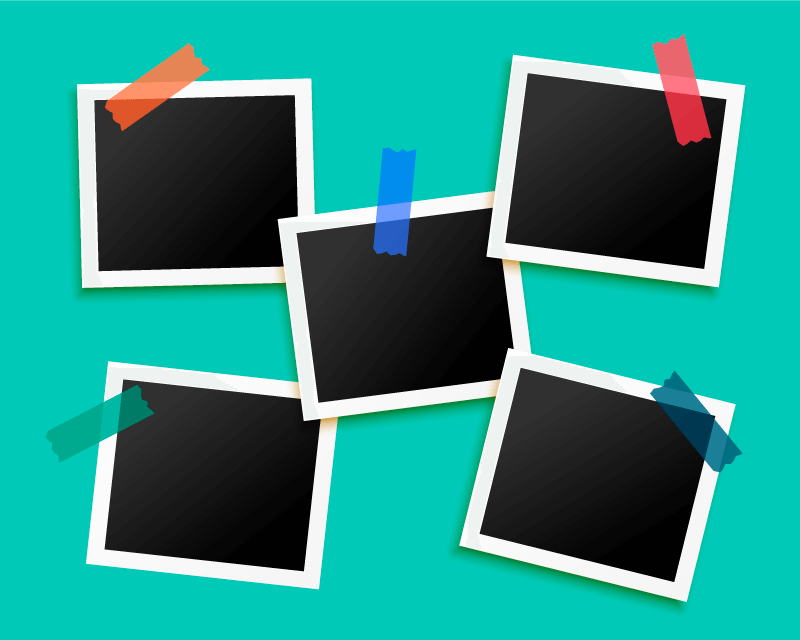 五个用胶带粘着的相框矢量素材(EPS)