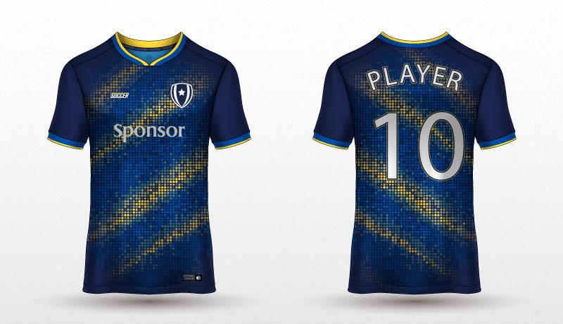深蓝色足球球衣T恤矢量素材(EPS)