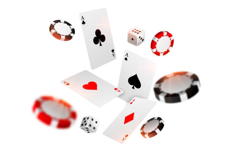 赌场扑克牌和筹码飞行背景矢量素材(EPS)