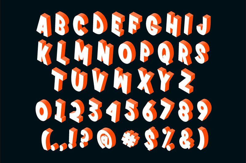 立体字母数字标点符号矢量素材(EPS)
