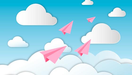 飞翔在天空中的粉色纸飞机矢量素材(AI/EPS)