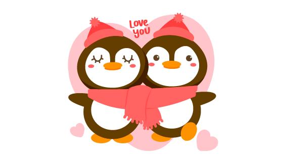 浪漫的企鹅情侣矢量素材(EPS)