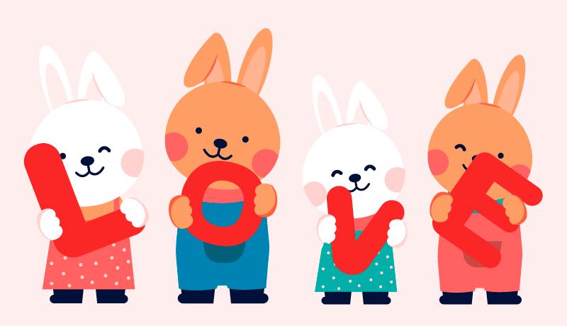 捧着LOVE字母的兔子矢量素材(EPS/免扣PNG)