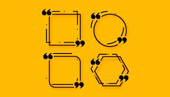 四个孟菲斯风格引号边框矢量素材(EPS)