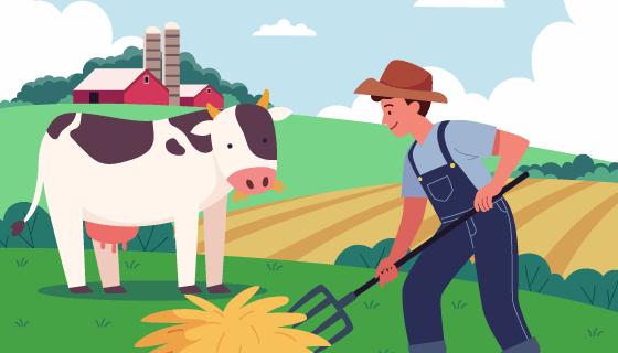农场里工作的农民矢量素材(AI/EPS)