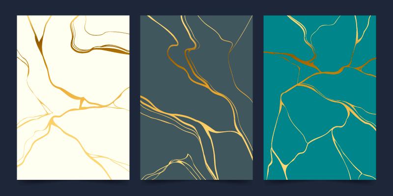 三张抽象金色线条封面矢量素材(AI/EPS)