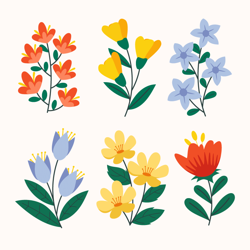 手绘风格漂亮花卉矢量素材(AI/EPS/免扣PNG)