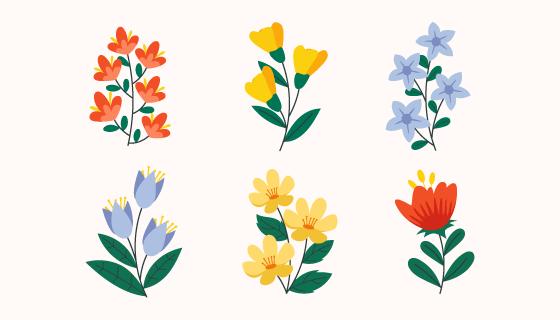 手绘风格漂亮花卉矢量素材(AI/EPS/PNG)