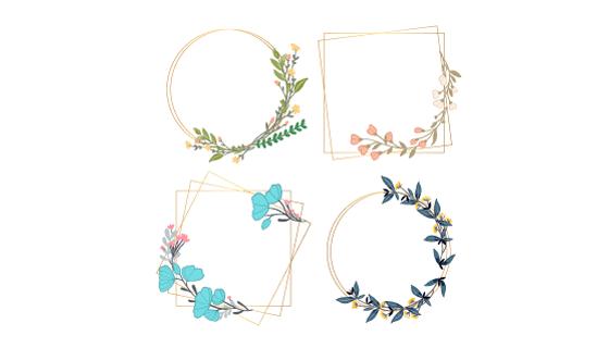 四个漂亮的花卉边框矢量素材(AI/EPS/PNG)