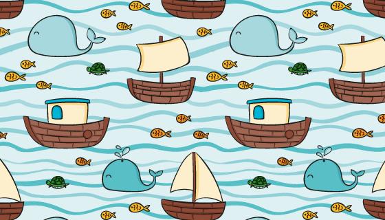 帆船鲸鱼图案夏天背景矢量素材(AI/EPS)