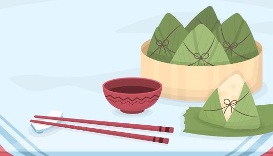 扁平风格的美味粽子矢量素材(AI/EPS)