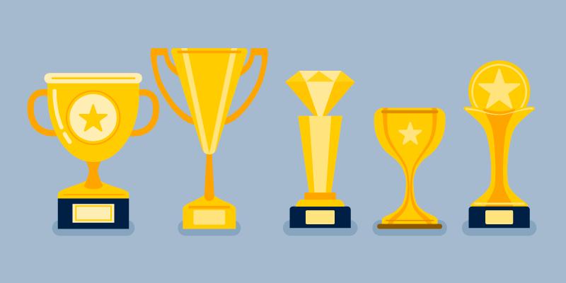 五个金色奖杯矢量素材(EPS/免扣PNG)