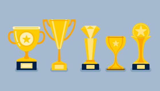 五个金色奖杯矢量素材(EPS/PNG)