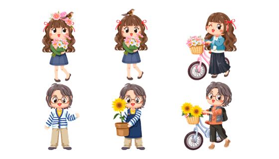 春天里捧着花骑着自行车的女孩矢量素材(EPS/PNG)