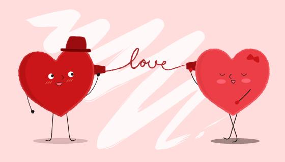 正在通过纸杯电话交流的两颗爱心矢量素材(EPS)