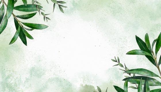 手绘水彩叶子背景矢量素材(AI/EPS)