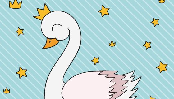 可爱的白天鹅公主矢量素材(AI/EPS)
