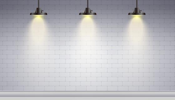 白色砖墙和聚光灯矢量素材(AI/EPS)