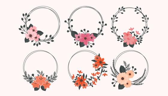 六个漂亮的花卉边框矢量素材(AI/EPS/PNG)