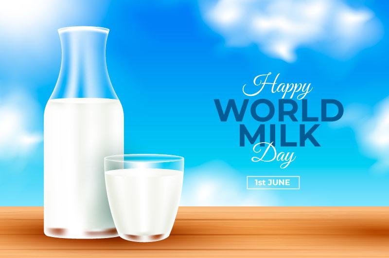 逼真的牛奶设计世界牛奶日矢量素材(AI/EPS)
