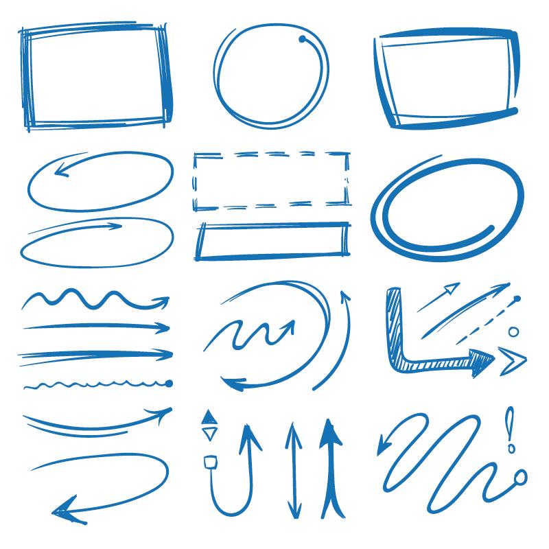 手绘涂鸦风格的标记和箭头矢量素材(EPS/免扣PNG)