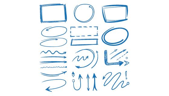 手绘涂鸦风格的标记和箭头矢量素材(EPS/PNG)