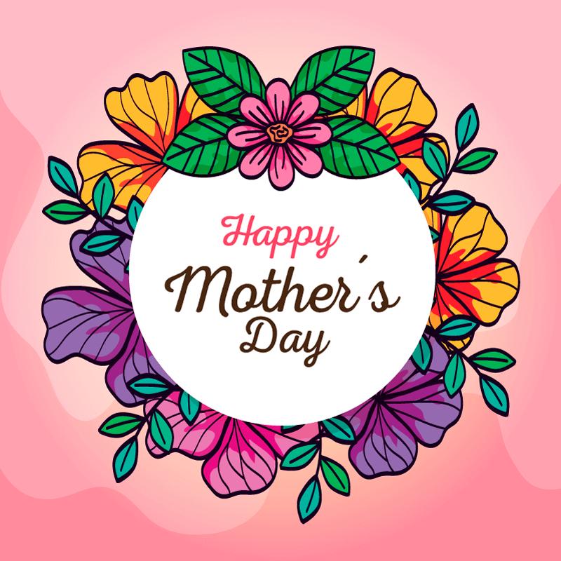 手绘漂亮花卉设计母亲节快乐矢量素材(EPS)