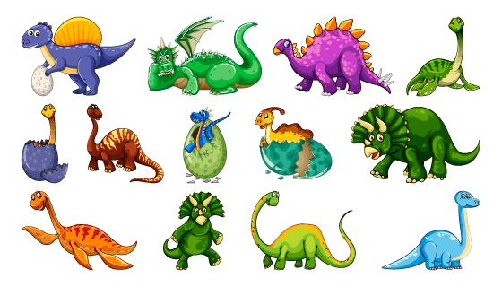 各种各样的卡通恐龙矢量素材(EPS)