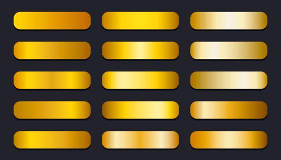 15个不同的金色渐变按钮矢量素材(EPS)