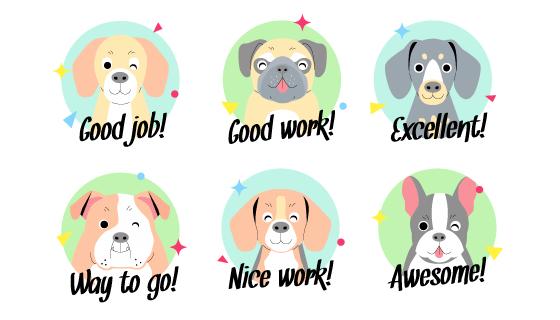 可爱的狗设计的励志贴纸矢量素材(AI/EPS)
