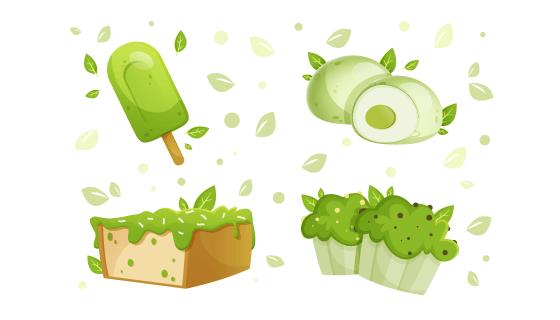 美味的绿色抹茶甜点矢量素材(AI/EPS)