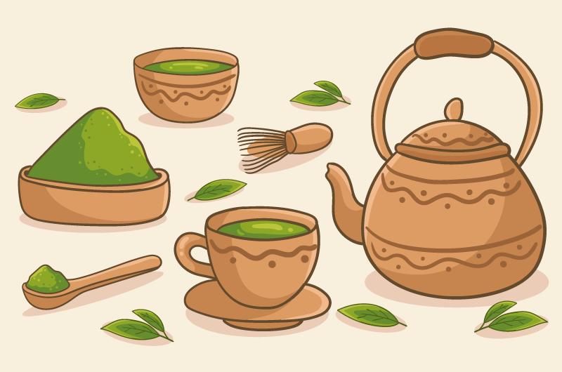 手绘抹茶制作工具矢量素材(AI/EPS)