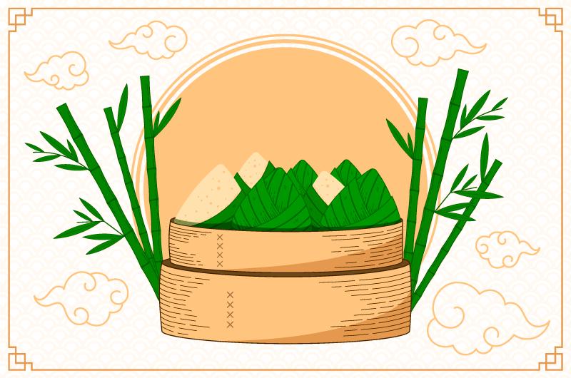 手绘美味的端午节粽子矢量素材(AI/EPS/免扣PNG)