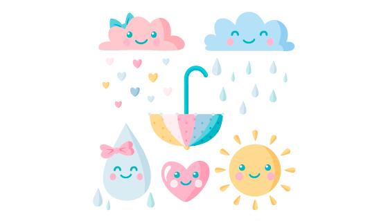 可爱的云朵太阳雨滴矢量素材(AI/EPS/PNG)
