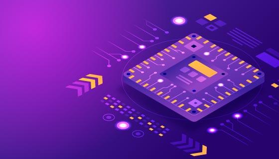 紫色芯片背景矢量素材(AI/EPS)