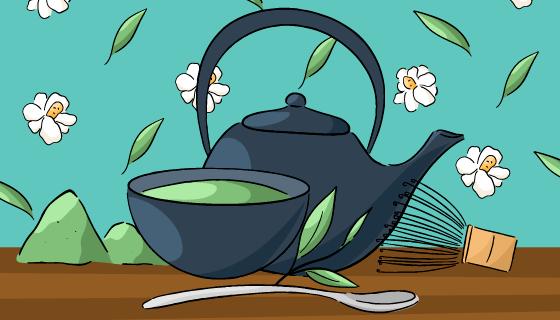 手绘茶壶茶杯矢量素材(AI/EPS)
