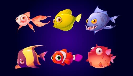 多彩可爱的鱼矢量素材(EPS/PNG)
