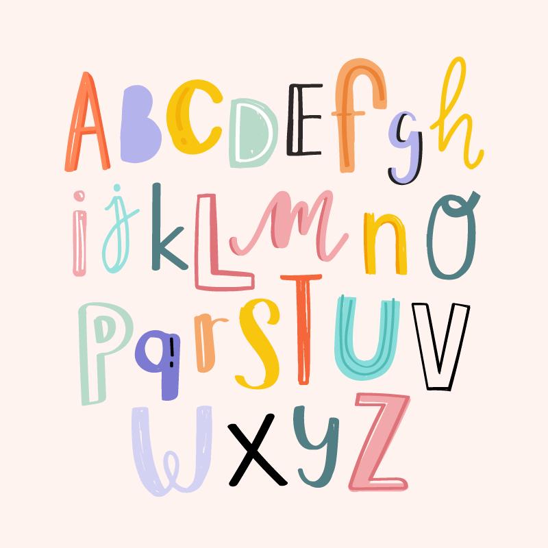 手绘涂鸦风格的英文字母矢量素材(EPS/免扣PNG)