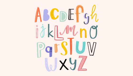 手绘涂鸦风格的英文字母矢量素材(EPS/PNG)