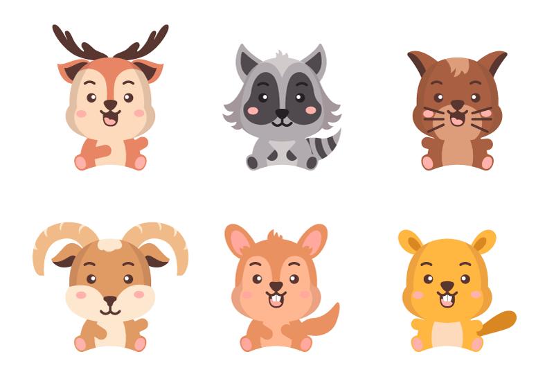 六个可爱的动物矢量素材(EPS/免扣PNG)