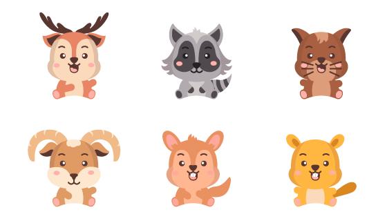 六个可爱的动物矢量素材(EPS/PNG)