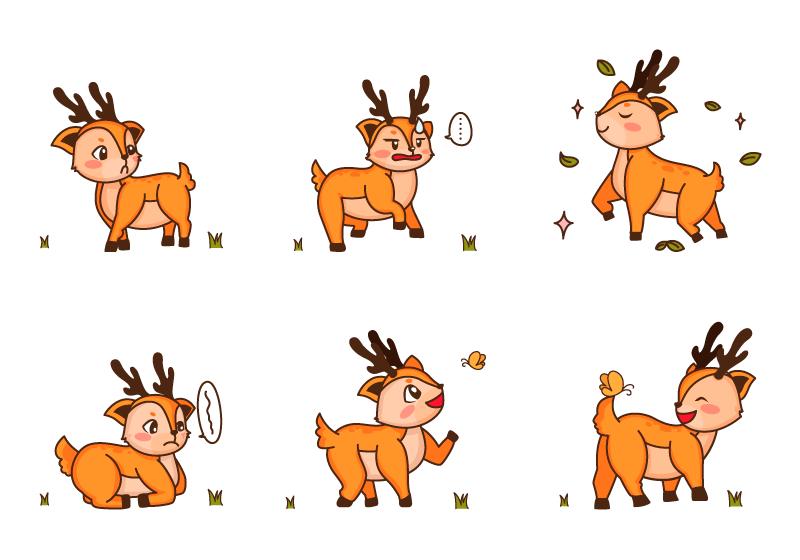 不同表情的小鹿矢量素材(EPS/免扣PNG)