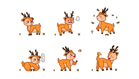 不同表情的小鹿矢量素材(EPS/PNG)