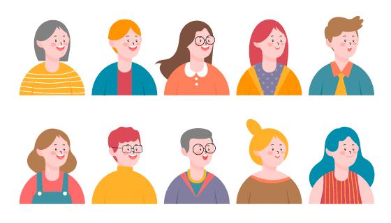 十个开心的人物头像矢量素材(EPS/PNG)