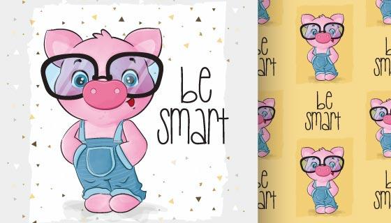 戴眼镜的可爱的猪矢量素材(EPS)